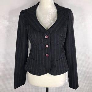 Nanette Lepore Black Blazer Jacket Pin Striped 4